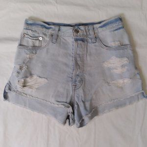 Abercrombie & Fitch Button fly Ripped Denim Shorts